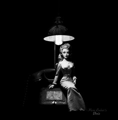 Doris waiting by the phone 📞 (pure_embers) Tags: pure embers doll dolls uk pureembers photography laura england gene marshall hibiscus stepping high embersdoris doris portrait 40s 50s style classic elegant fashion melodom collector vintage pinup snake dress hoanganhkhoi monochrome telephone dramatic