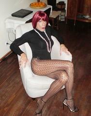 Karen (Karen Maris) Tags: tg tgirl tgurl legs transsexual transvestite transgender tranny fishnets pantyhose tights heels redhead karen crossdress crossdresser