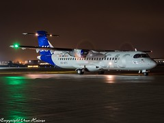 Scandinavian Airlines (SAS) ES-ATI HAJ at Night (U. Heinze) Tags: aircraft airlines airways airplane planespotting plane night nightshot haj hannoverlangenhagenairporthaj germany flugzeug eddv olympus omd em1markii 12100mm