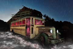 Schools Out (magnetic_red) Tags: bus fog night lights light ghostly mood stars startrails house old wooden lightpainting