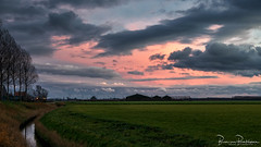 After Sunset (BraCom (Bram)) Tags: 169 bracom bramvanbroekhoven goereeoverflakkee herkingen holland nederland netherlands southholland zuidholland akker avond boerderij bomen cloud clouds ditch evening farm field landscape landschap lucht polder sky sloot sunset trees widescreen windmill windmolen winter wolk wolken zonsondergang