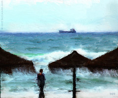 Upon A Painted Ocean - Malaga (sbox) Tags: malaga mediterranean ship beach water waves blue sbox declanod painting painterly textures spain