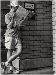 no electronics for me (Bluescruiser1949) Tags: ottawa canada carrental avis newspaper reading waiting streetphotography blackwhitestreetphotography blackandwhiteversion blackandwhitestreetphotography man bluescruiser1949 streetportrait streetscene
