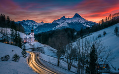 Winter sunset (gregor158) Tags: snow winter sunset clouds chapel germany deutschland europe travel landscape places tree trees mountain mountains alps road berchtesgaden