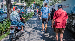2019 - Vietnam - Ho Chi Minh City - 51B - Sidewalks are For ? (Ted's photos - Returns Early February) Tags: 2019 cropped hochiminhcity nikon nikond750 nikonfx saigon tedmcgrath tedsphotos vietnam vignetting hcmc sidewalk motorcycle motorcycles streetscene street helmut helmuts bikers walkers pedestrians ballcap pathsandpeople peopleandpaths