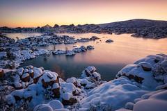 Watson Lake-8111-HDR (Michael-Wilson) Tags: winter snow sunrise lake watsonlake prescott arizona michaelwilson cold blue reflection