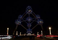 Atomium by Night (kylewagaman) Tags: atomium balls lights europe european belgian city landmark building architecture traffic tourists cars attractions belgien belgique belgië belgium brussels bruxelles brussel skyline