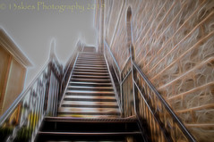 The Climb Upward (HSS) (13skies) Tags: postprocessing slider happyslidersunday notl niagaraonthelake stairs upward fireescape postwork topazglow fun processing effects software railings sunlight daytime