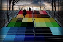 Stairway (Anamorphose d'Alberonero) (Edgard.V) Tags: paris parigi bercy stairs escalier escadaria escada scala alvorada aube alba colors couleurs colori cores street art urban irbano arte callejero mural