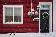 Cold Comfort (vanessa violet) Tags: cold snow snowflakes house home red wreath winter christmas storm coldcomfort candle mailbox jellybeanrow stjohns door window 19 vanessaviolet