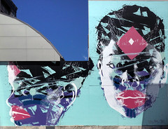 Art taking over an other wall. (Bernard Spragg) Tags: mural art walls color paintings lumix christchurch urban streetart