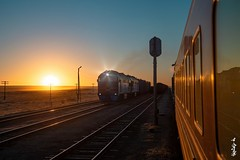 Gobi & Sanrise time... (N.Batkhurel) Tags: season sky sunrise sunlight gobi gobidesert railway railfan railroad railways trains trainspotting transport locomotive 2te116um station ngc nikon nikondf nikkor 24120mm mongolia monrailpic signal