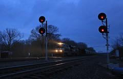 Morning at MO (GLC 392) Tags: ns 7647 9862 mo cresson blue hour morning haze signal norfolk southern railroad railway train ge es40dc c409w d940w pa pennsylvania mist