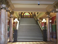 State Capitol of Montana ~ Helena Montana ~ Grand Staircase (Onasill ~ Bill Badzo - New Format) Tags: greek neoclassical architectural style montana state capitol helena mt downtown nrhp clouds sky statue garden historic historical register interior exterior dome us flag usa attraction walking tours tourist onasill america architecture building serene site stain glass atrium vault ceiling wing mural annex stainglass grand staircase st helen old vintage photo