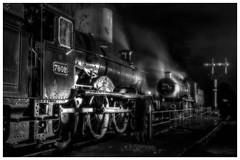 'Manor Face Off' (photofitzp) Tags: 7802 7812 bewdley blackandwhite bradleymanor charlescollett erlestokemanor gwr svr smoke steam bw