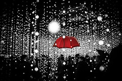 Canary Wharf Illuminations by Simon Hadleigh-Sparks (Simon Hadleigh-Sparks) Tags: red umbrella canarywharf dots spots illumination night dark london city selectivecolour people