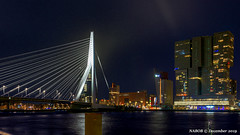 Rotterdam, Netherlands: Erasmusbrug crossing the Nieuwe Maas (nabobswims) Tags: bridge erasmusbrug ilce6000 lightroom mirrorless nl nabob nabobswims netherlands nieuwemaas night nightfoto rotterdam sel18105g skyline skyscraper sonya6000 zuidholland enhanced photoshop luminositymasks