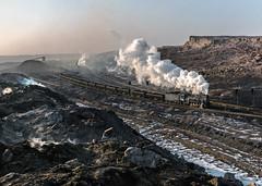 Dying Embers (Kingmoor Klickr) Tags: gordonedgar sandaoling xinjiangprovince china opencast pit mine industry industrial railway steam loco js 8081 8225