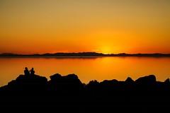 sunset over Great Salt Lake (Yuki (8-ballmabelleamie)) Tags: antelopeislandstatepark sunset twilight horizon sihouette people shadow atmosphere dramatic poetic overlook goldenhour sunsetorange sunglow utah backlight