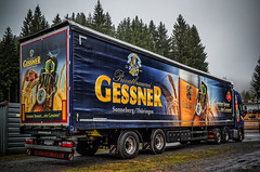 VOLVO truck GESSNER beer - rear view (Peters HDR hobby pictures) Tags: petershdrstudio hdr truck volvo volvotruck trailer beer lkw zugmaschine zugmaschinemitauflieger auflieger lkwanhänger bier werbung marketing