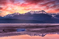 Low Tide (larwbuck) Tags: pugetsound clouds colors foothills mountains nature outdoors rural snow sunset washington water winter composite landscape seascape