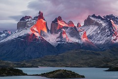 Cuernos del Paine in Torres Del Paine, Patagonia, Chile, Christine Phillips (Christine's Phillips (Christine's observations) - ) Tags: christinephillips cuernosdelpaine torresdelpaine sunrise sunset pink red dramatic wow awe chill relax peace nopeople cloud water blue volcanic landscape forests