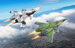 Two birds of a feather (Red Spacecat) Tags: formation fighters aircraft planes airplanes warplanes ucav drone usaf navy splintercamouflage camouflage europeanonecamouflage redspacecat moc lego peregrine spraypaint decals