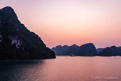 Sunset in Lan Ha Bay (joeri-c) Tags: sunset sun karst rock rockformation boat cruise travel lanha bay lanhabay halongbay vietnam asia hdr nikon d800 nikond800 35mm tourism nikon35mm nikkor35mm perladawnsails northvietnam