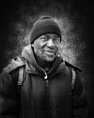 Rod (mckenziemedia) Tags: man portrait portraiture face smile stockingcap hat chicago city urban street streetphotography blackandwhite monochrome homeless homelessness