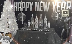 Happy New Year! (Rose Sternberg) Tags: deco decor home furniture garden interior outdoor landscape second life december 2019 exclusive for your dreams goose refuge equal10 equal 10 happy new year wall round party hanger table bottle candy canes drink glass ballons vintage tv mannequin eye colorful christmas tree white