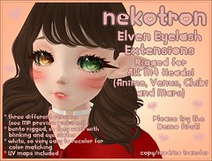 [Nekotron] Rigged Elven Eyelash Extension (ALL M4 HEADS) (Eliih1994 Resident) Tags: secondlife second life marketplace nekotron cute kawaii moe eyelash extensions fairy elven elegant adorable girl girly utilizator m4 anime venus chibi mars fairytale rigged bento head eyes princess eyelashes lashes elf