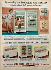 """Here, Mother, Have an Ice Cream Cone!"" (saltycotton) Tags: appliances refrigerator freezer housewife mother apron children family vintage magazine advertisement ad 1955 1950s"