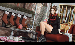 - falling in love. (megumibasis) Tags: cat dog jian zenith tram christmas fireplace snow tree red cold winter girl second life emarie