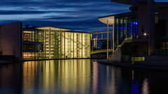 Paul Löbe Haus (djcotto1971) Tags: berlin germany river spree blue sky clouds night longexposure city building lights windows modern architecture reflection nikon d5500 nikkor