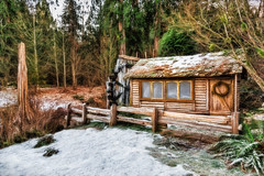Frozen In Time (larwbuck) Tags: landscape architecture building effects historic ice nature painterly snow structure trees washington waterwheel winter texture