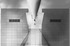 Crane and a lamp - mono (frank_w_aus_l) Tags: köln cologne germany architecture symmetry lamp reflection skyscraper sky fuji fujifilm x100t city view lookingup nordrheinwestfalen deutschland sw monochrome black white light shadow