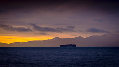 CSCL Autumn (Paul Rioux) Tags: marine ship vessel freighter morning sunrise clouds mountains ocean prioux csclautumn
