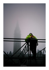 Structure (Dan Haug) Tags: parliamenthill ottawa gothicrevival architecture foggy fog scaffolding mood construction renovation worker frombelow safety harness installation parliamentaryprecinct xpro3 xf35mm xf35mmf14r fujifilm fujixseries