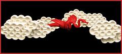 Sky King (Karf Oohlu) Tags: lego moc vignette microscale dragon reddragon winged flying clouds