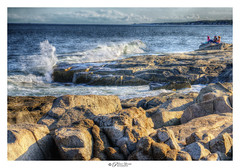 Sitting By The Shore. Sohier Park, Maine USA (Pearce Levrais Photography) Tags: ocean oceanscape landscape sony a7r3 hdr thebestofhdr sky cloud water wave break crest rock stone shore shoreline people sunset light ilce7rm3 horizon