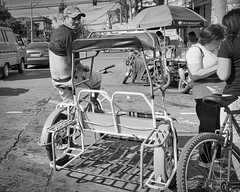Tricycle Taxi (Pedicab) (Beegee49) Tags: street people man tricycle transport public blackandwhite monochrome sony a6000 bw bacolod city philippines asia
