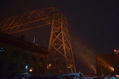 Aerial Lift Bridge footlights (schwerdf) Tags: aerialliftbridge canalpark duluth minnesota northshore snow snowfalling