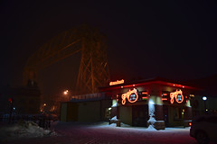 Grandma's and the Aerial Lift Bridge, Duluth (schwerdf) Tags: aerialliftbridge canalpark duluth minnesota northshore snow snowfalling