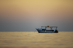 Blue Boat (Deepmike70) Tags: landscape nature water sea sunset sky