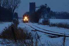 Blue Hour Local - Hayward, MN (MinnKota Railfan) Tags: rail railroad train local well jackson sub minnesota mn subdivison grain elevator gp20eco snow winter small town rural cp canadian pacific railway blue hour