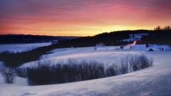 Froid matin d'hiver (gaudreaultnormand) Tags: calme canada froid glace jaune leverdesoleil mars matin paysage quebec saguenay sunrise