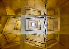 Caleidoscope stairway (Karsten Gieselmann) Tags: 714mmf28 architektur bavaria bayern deutschland em1markii exposurefusion germany mzuiko microfourthirds münchen olympus treppenhaus architecture kgiesel m43 mft staircase stairs