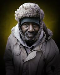 Jimmy (mckenziemedia) Tags: man portrait face smile portraiture hat coat chicago city urban street streetphotography homeless homelessness