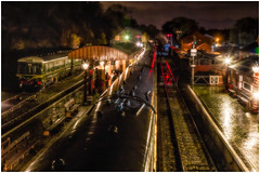 The Light Show (photofitzp) Tags: night lights railways bewdley svr dmu christmas steam signals red reflections wet