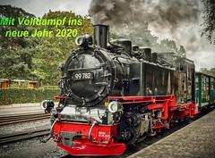 2020 ist nicht mehr weit! (Jürgen von Riegen) Tags: ostsee insel rügen lokomotive zug rasender roland wolken baltic sea island clouds blue train outdoors lumix lumixg9 mirrorless micro43 fourthirds outside fave